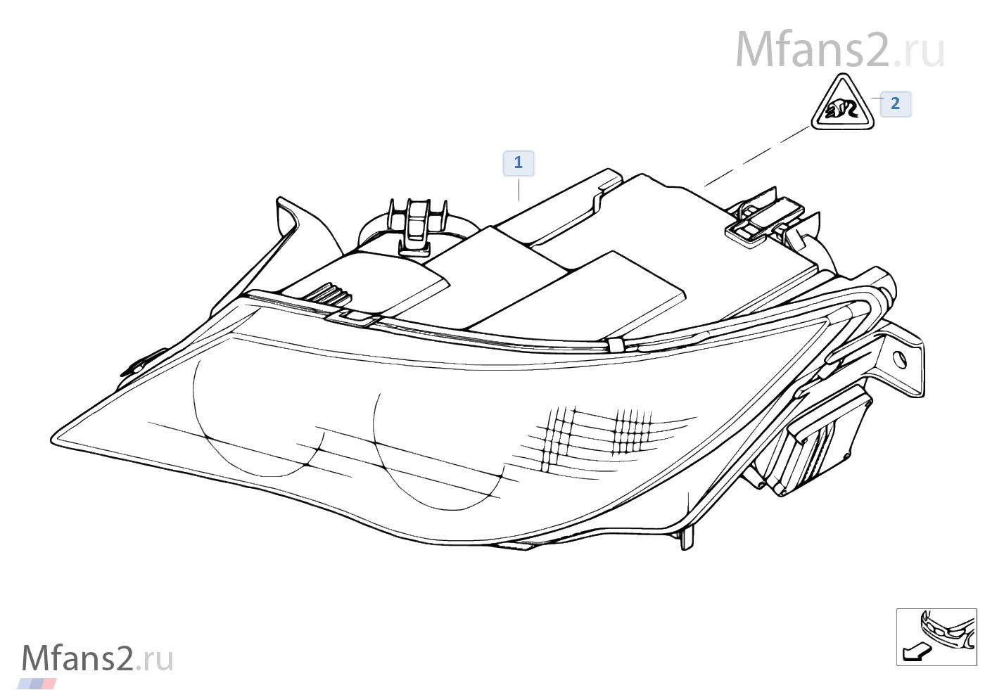 S524A Адаптивное освещение поворотов.  Ксеноновая фара не включает в себя блок управления и ксеноновую лампу.
